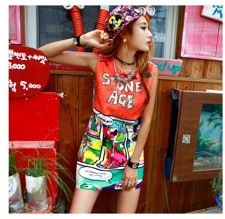 2016 summer new personalized cartoon printing vest dress no sleeve head straight street style bag hip bottoming dress(China (Mainland))