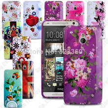 For HTC One Mini HTC M4 Flower Printed TPU Mobile Phone Bag Protector Case Cover Snap