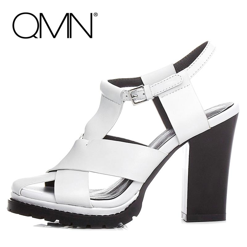 Фотография QMN women genuine leather sandals Women Gladiator Chunky Heels T-Strap Summer Shoes Woman Leather High Heels Sandals