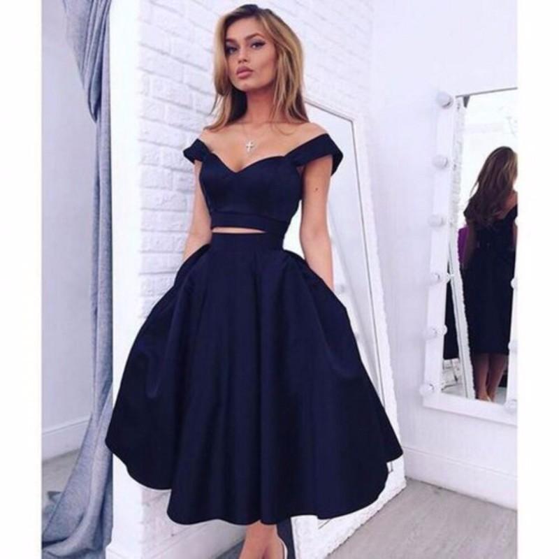 Popular Navy Blue Ruffled Prom Dress-Buy Cheap Navy Blue Ruffled ...