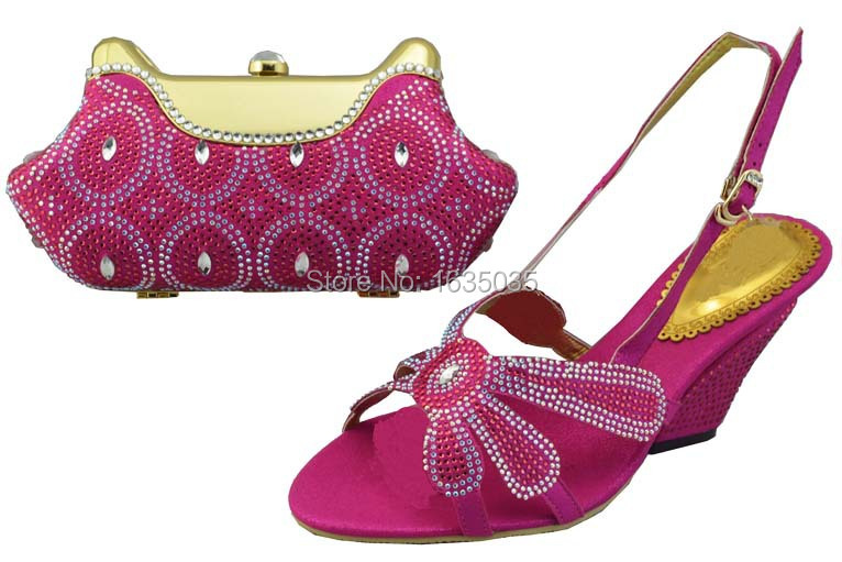 Free shipping /Crystal Wedge Shoes and Bag to Match in nice fushia pink(China (Mainland))