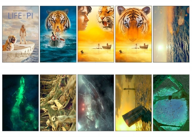 10 pcs/lot Life Of Pi Movie Poster Picture Souvenir Card Sticker DIY Scrapbooking Decoration Self-Adhesive Stickers 1035(China (Mainland))