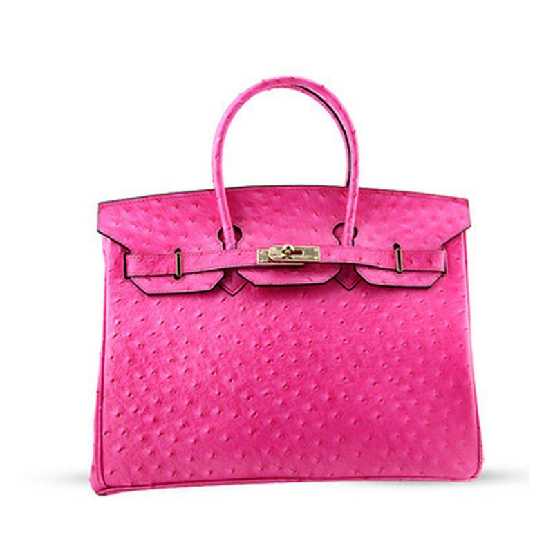 25cm Genuine Leather Women Ostrich Pattern Bag Small Designer Office Ladies Handbag 2016 Fashion Tote Cowhide Mini Shoulder Bags