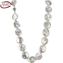 Buy SNH High Long Pearl Necklace Natural Freshwater Pearl 925 Sterling Silver Jewelry Women Statement Necklace for $63.00 in AliExpress store