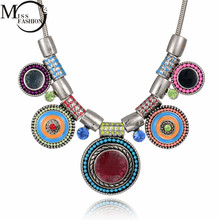 Buy 2017 New Brand Design Ox Antique Silver Bohemia Multi Round Enameled Charm Statement Necklace Jewelry for Women for $6.59 in AliExpress store