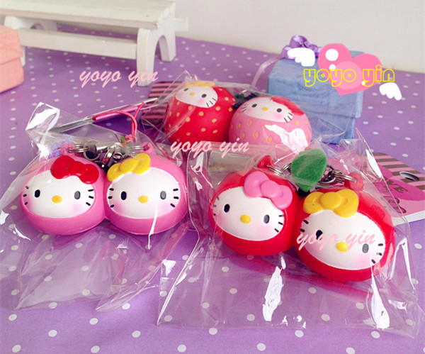 New Arrival ! Licensed Hello Kitty Scented Fruit Twins Strawberry & Pink Cherry Squishy Ball Chain With Tag(China (Mainland))