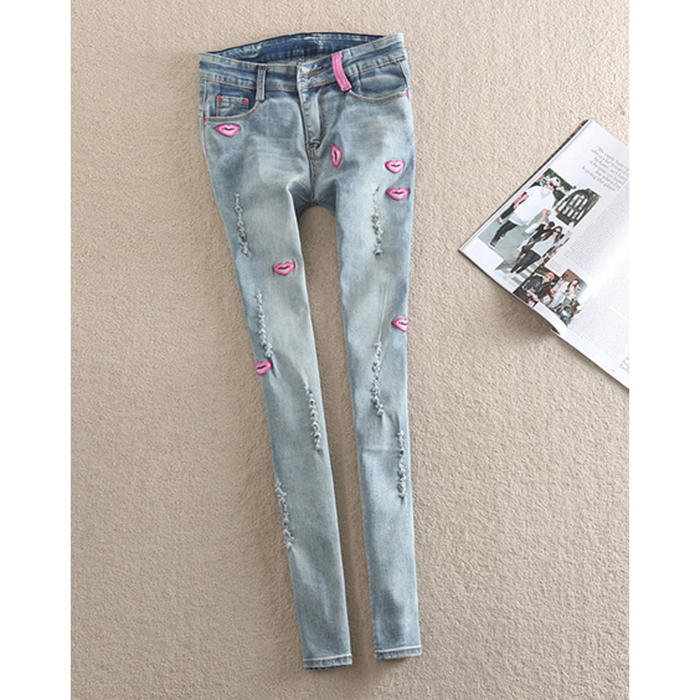 Plus Size Jeans Women Stretch Denim Pencil Pants Pink Lips Ripped Cowboy Trousers Vintage Light Blue Slim Fit(China (Mainland))