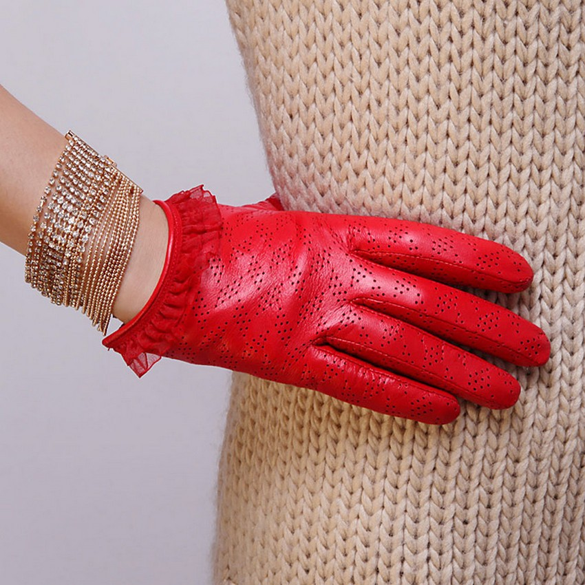 Hot Sale Adult Women Gloves 2016 Fashion Wrist Lace Solid Genuine Leather Breathable Sheepskin Glove Free Shipping L120nn Red(China (Mainland))