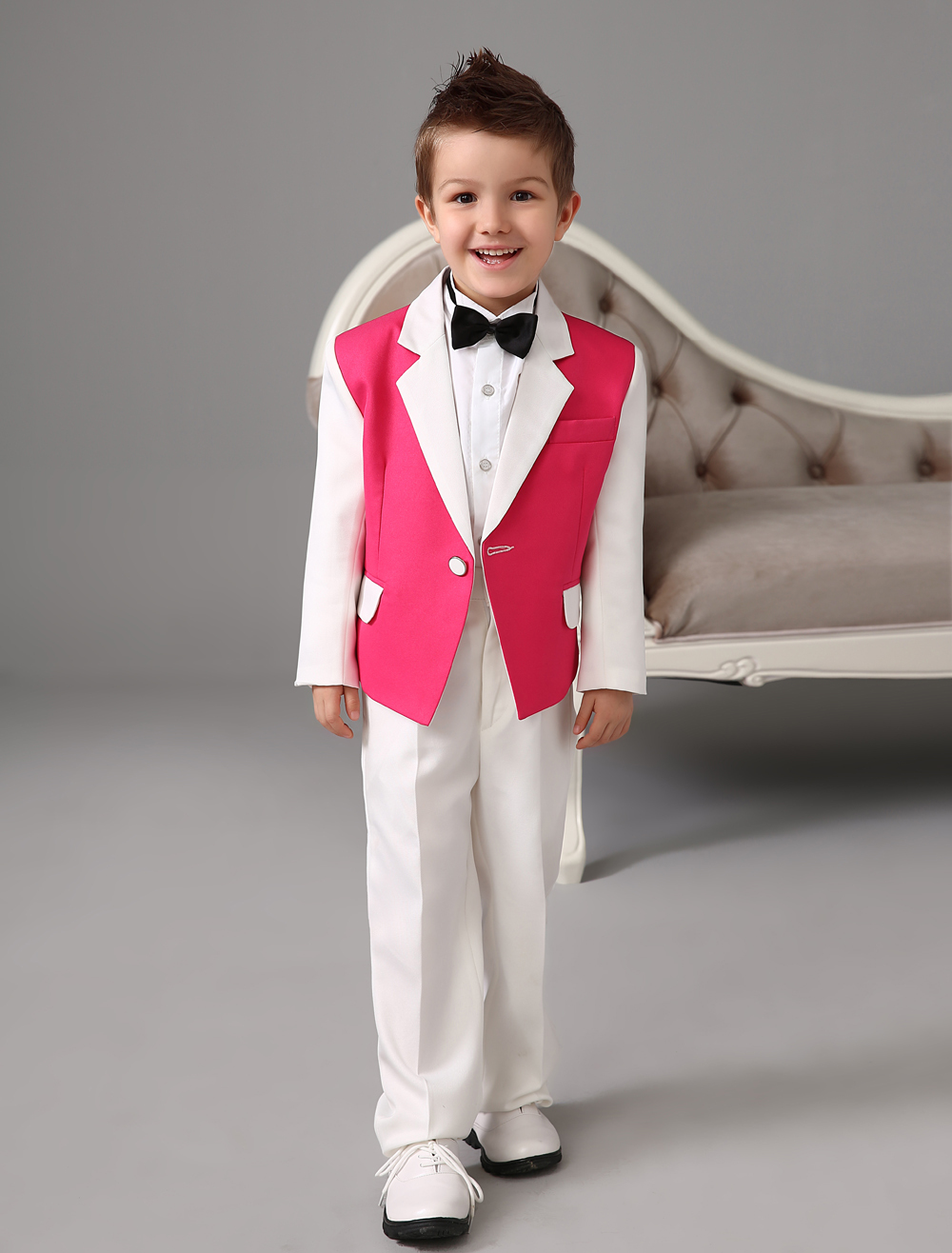 Four Pieces Luxurious formal Red and white kids boys suits Tuxedo With Black Bow Tie boys outfit wedding Ring Bearer Suits(China (Mainland))
