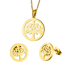 2016 Hot Sale Products Hollow Little Tree Round Necklaces And Earrings Sets, Jewelry Sets,316 Stainless Steel 18k gold plated(China (Mainland))