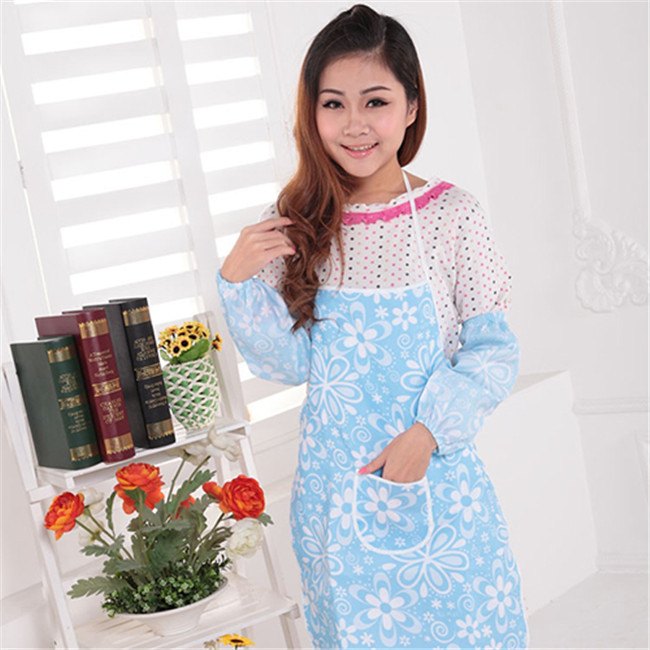 Printed Aprons 2015 fashion flowers double waterproof apron Country style kitchen apron and easy to clean 73*54cm 105g H-13(China (Mainland))