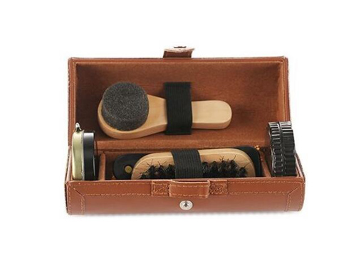 New Outdoor Travel Shoe Shine Care Wooden Polish Cream Brush Kit Shoes Cleaning Tool(China (Mainland))
