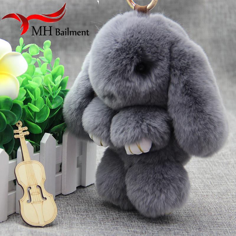Rex Rabbit Fur Keychain Cute Rabbit Doll Key Chain Phone Bag Pendant Rabbit Fur Wallet Pom Pom Car Pendant with Gift F#88(China (Mainland))