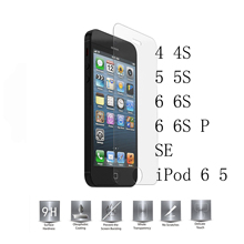 0.26mm Tempered Glass For Apple iPhone 4 5 5s SE 6 6s Plus iPod Touch 6 5 6G 6TH 5G 5TH 9H Screen Protector Film 2.5D Round