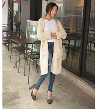 Europe and America 2015 autumn winters loose o-neck female cardigan sweater long thick needle sweater knitted coat female(China (Mainland))