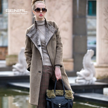 2013 women winter fashion british style single breasted compound fur jacket long design thick faux leather overcoat plus size(China (Mainland))