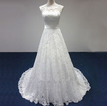 Cheap Price ! 2015 New Free Shipping cap sleeve lace sashes A Line White / Ivory Wedding Dresses FS087(China (Mainland))