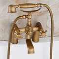 Brass Antique Deck Mounted Bathtub Mixers with Handheld Shower Dual Handle Swivel Spout Tub Filler