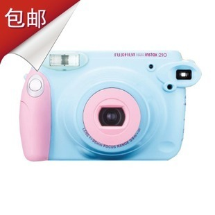 free shipping ! 100% original Fuji once imaging polaroid camera instax wide 210 powder blue in stock(China (Mainland))