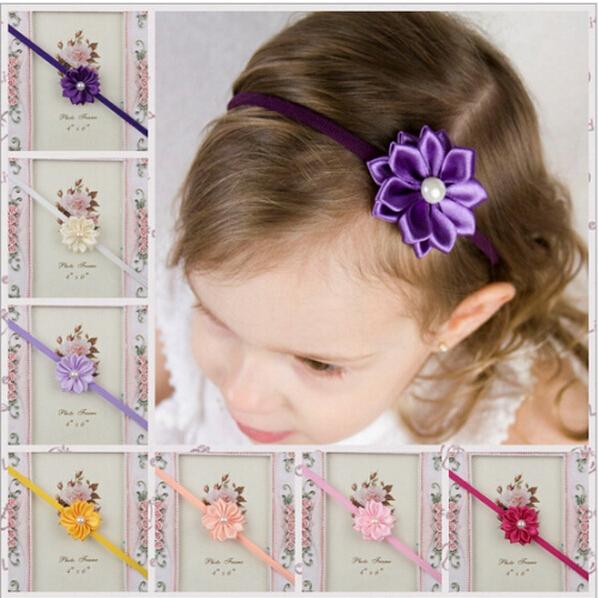 1 pcs/lot Newborn Baby Girls Satin Ribbon Flower Headbands With Rhinestone For Photography Props Infant Baby Headband(China (Mainland))