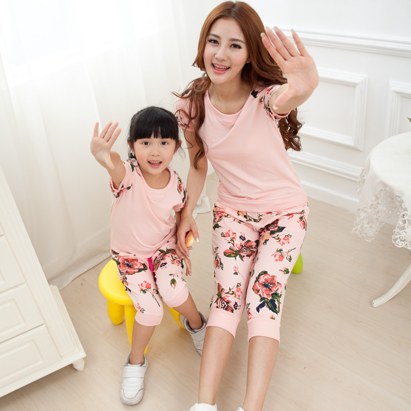 2015 summer children's clothing suit fashion big flower mother daughter clothes set paternity suit cotton not ball(China (Mainland))