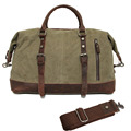 Vintage Canvas Leather Travel Bag Men Military Carry on Luggage Bags Weekend Handbag Overnight Large Duffel