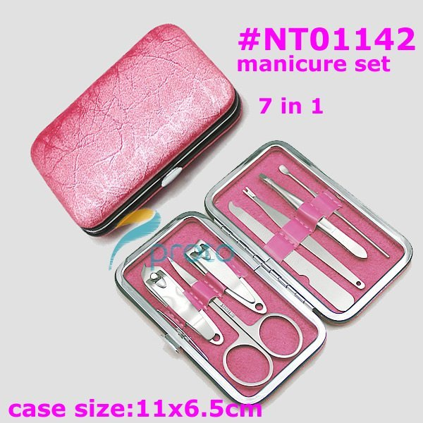 Freeshipping-7 in 1 Stainless Steel Manicure Gift Set in pink Case Dropshipping [RETAIL] #NT01142