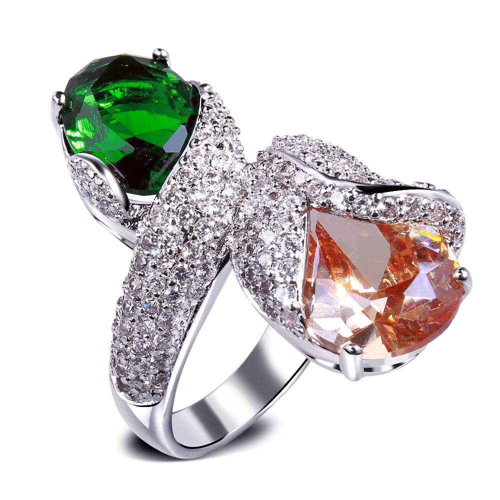 Rings for women real gold plated with Cubic zirconia big color stone Luxury Ring Wedding ring new design jewelry Free shipping