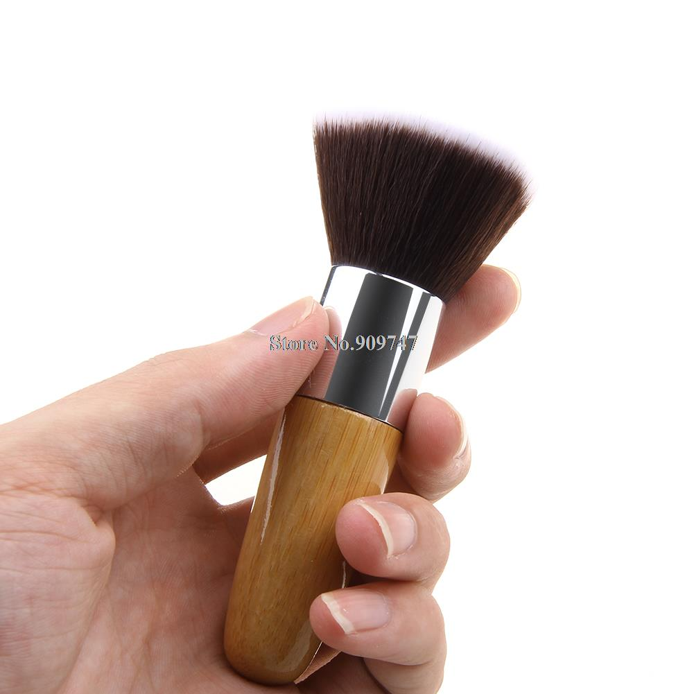 Professional Bamboo Foundation Brush Blush Flat Top Base Liquid Cosmetic Makeup Brush Free Shipping(China (Mainland))