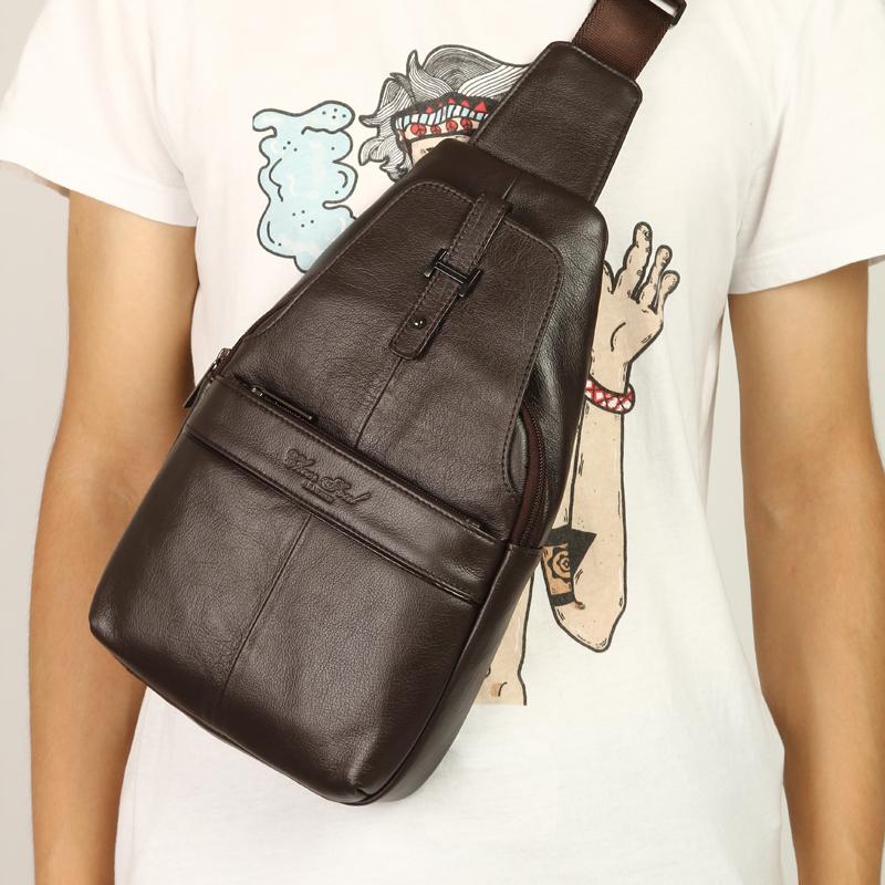 2015 luxury genuine leather bag men chest pack casual bolsos male shoulder bags designer brand men messenger bags(China (Mainland))