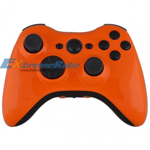 polished orange shell for xbox 360 controller housing complete kit with black inserts and. Black Bedroom Furniture Sets. Home Design Ideas
