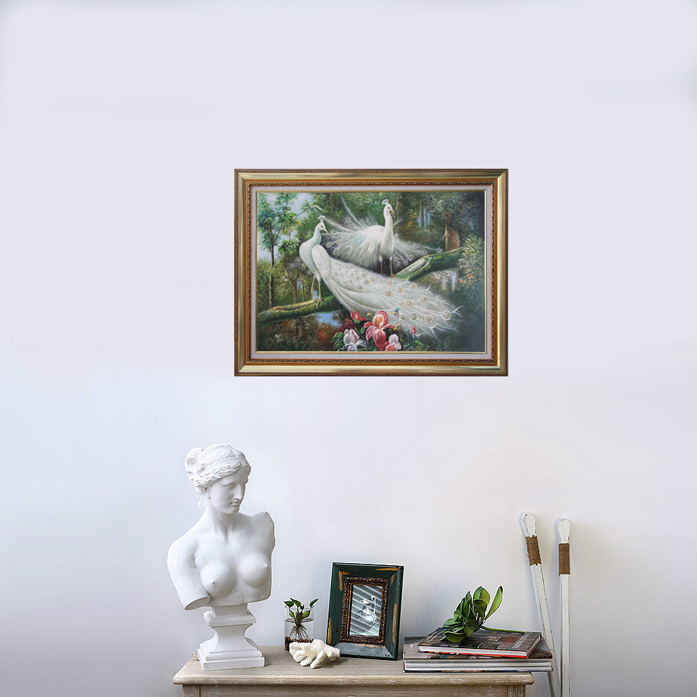 Free shipping Animal-White Peacocks Hand Painted Oil Painting On Canvas TDS-DW001(China (Mainland))