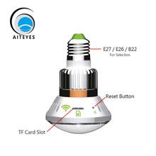 AIteyes Brand Design Creative Pattern HD 960P IP Camera Wifi Lamp Bulb Mirror Cover Security Camera IR Night Vision(China (Mainland))