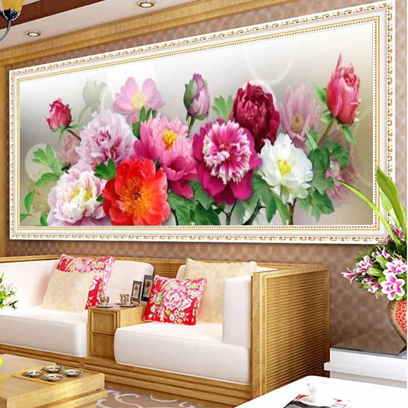 2015 Chinese Peony Trends 5D DIY Diamond Embroidery Flowers DMC Colorful Top Design Diamond Painting Flowers Diamond Picture(China (Mainland))