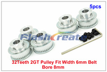 Buy 5pcs/lot 32 Teeth 2GT Timing Pulley Bore 8mm fit width 6mm GT2 Timing Belt 3D Printer, 32teeth GT2 Timing Belt Pulley for $12.79 in AliExpress store
