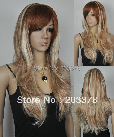High quality Blonde & Auburn Long Straight Lady's Fashion Sexy Party Csplay Synthetic Wig full 10pcs/lot mix order