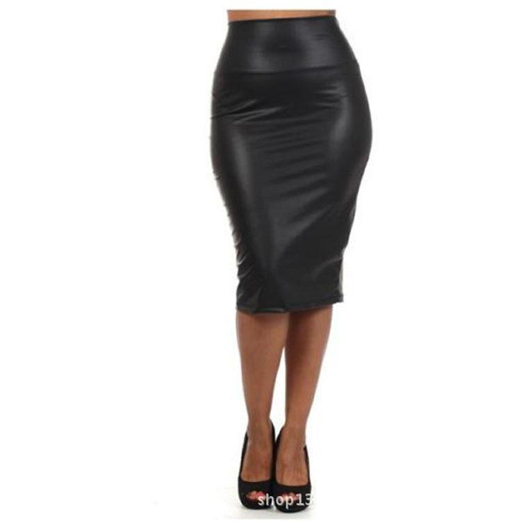 fashion 2015 high waist faux leather pencil summer