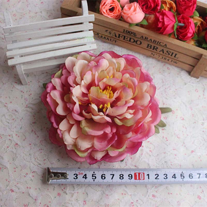15CM Head,Large Fabric Rose Heads Artificial Silk Fake Peony Flower,DIY Floral Supplies,Wedding Bouquet Decoration Accessories(China (Mainland))