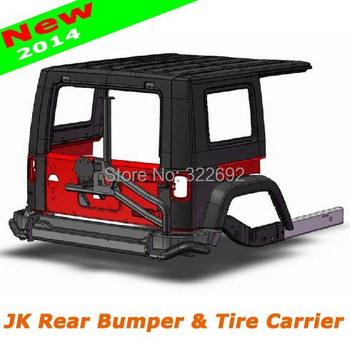 New Stylish Top AEV Bumper & Tire Holder Carrier for Jeep Wrangler JK & Unlimited JK 2007 08 09 10 11 12 13 14 15 Steel Black