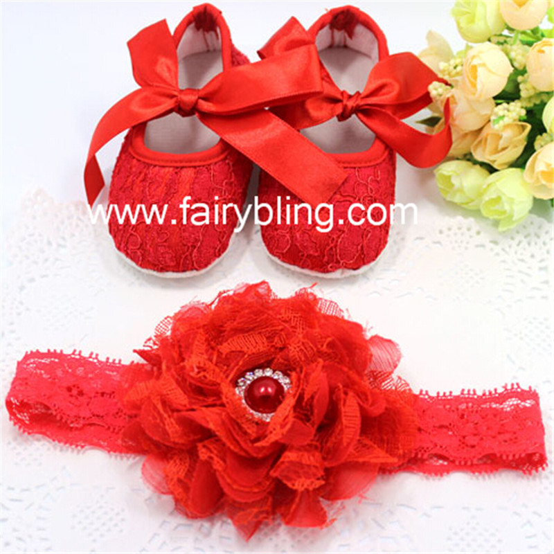Red wedding Newborn Princess Girl Brand Shoes+Lace Headdress Flower,Toddler Infant Baby Booties Headband Set, First Walker Shoes(China (Mainland))