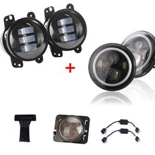 Pair 4 inch 30w Led Fog Lights + 7 Round LED Headlight Third Brake Side Maker Jee-p Wrangler JK TJ CJ FJ - Auto Manufacturers store