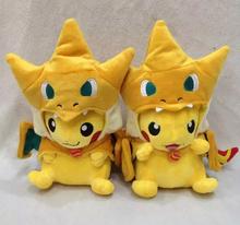 "2015 so hot 1pcs 10"" 25cm Pokemon Plush Doll Stuffed Toy Pikachu Mega Charizard Y Pikazard kids toys so lovely for your friends(China (Mainland))"
