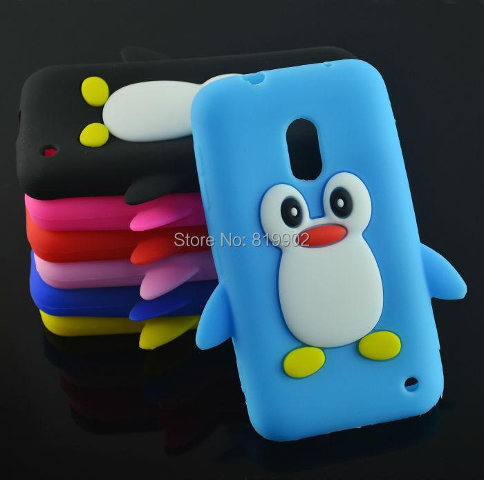 New Cute Penguin Cartoon Soft Silicone Skin Back Cover Case for Nokia Lumia 620 phone case +free gift(China (Mainland))