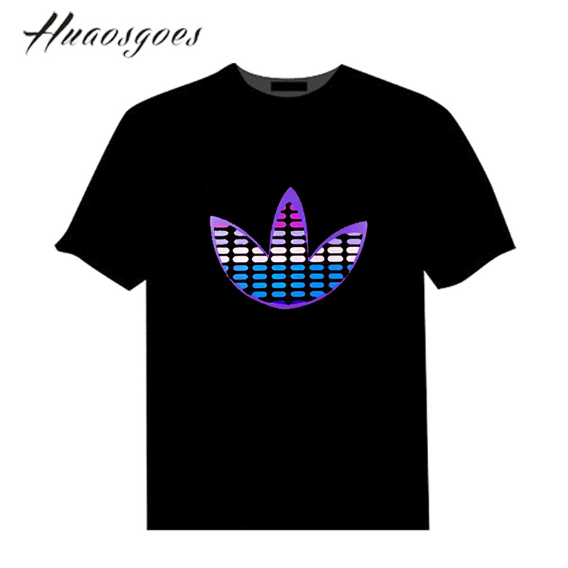 Black short sleeved Cotton Men EL Tshirt Sound Activated LED Tshirt Flashing Equalizer music activated EL T-Shirt for Party DJ(China (Mainland))