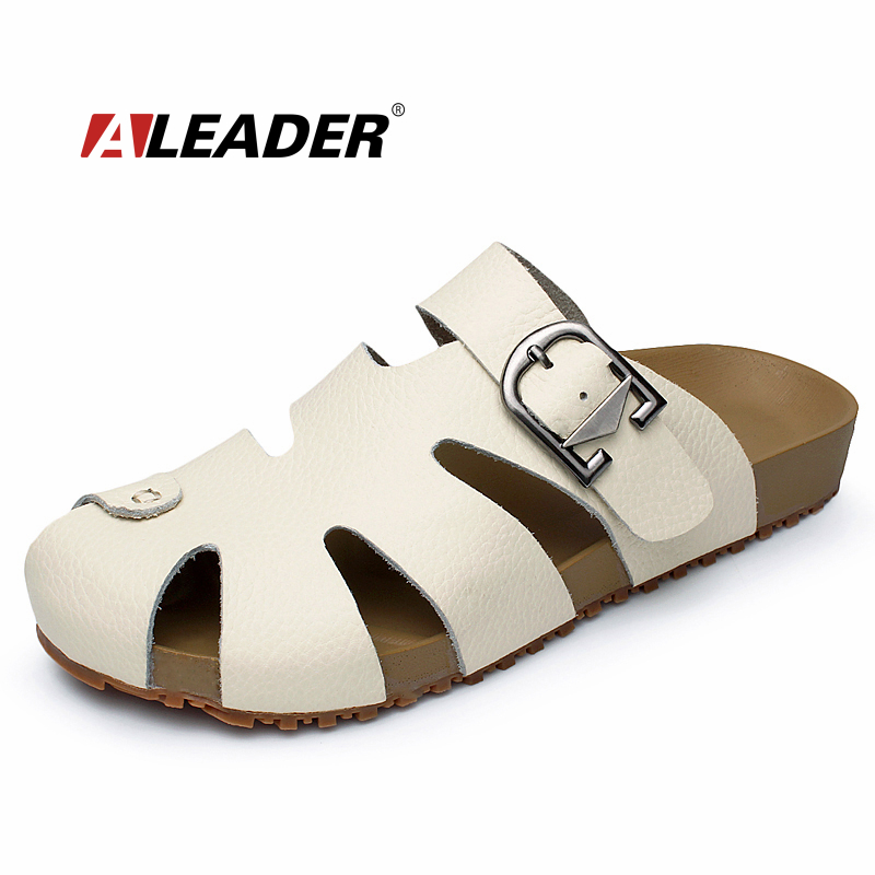 Mens Summer Casual Leather Sandals Shoes New 2015 Closed Toe Beach Sandals for Man Fashion Fishman Slippers Male Shoes Sneakers