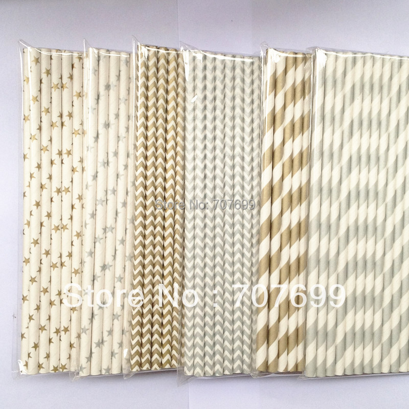 Free shipping 2000pcs Paper Straws,Stripe Paper Straws, Drinking Paper Straws Party Paper Straws Silver/Gold color