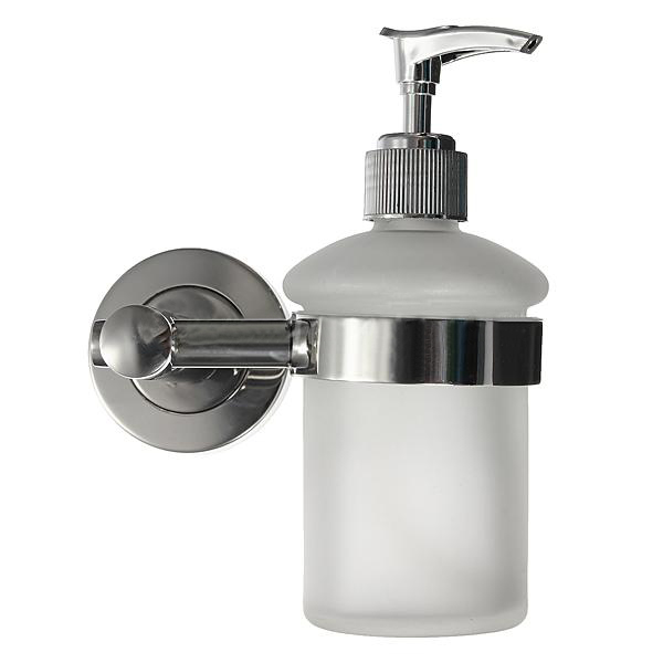 Details About Wall Mount Bathroom Frosted Glass Shampoo Liquid Soap Dispenser Holder Chrome In