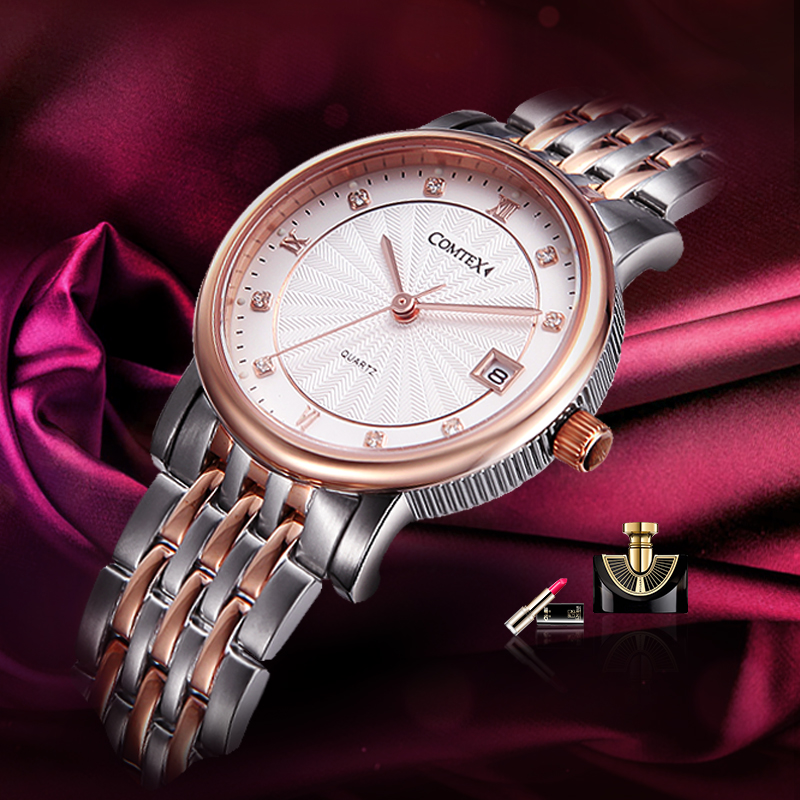 Comtex brand OL watch luxury fashion Woman Wristwatch rose gold sapphire Dress Watch Japanese quartz Calendar Crystal watch gift(China (Mainland))