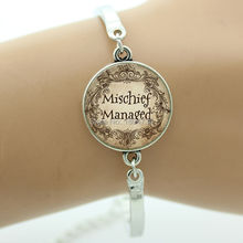 Trendy Case For Harry Mischief Managed Quote bracelet Glass cabochon Dome Art charm bracelet vintage G047(China (Mainland))