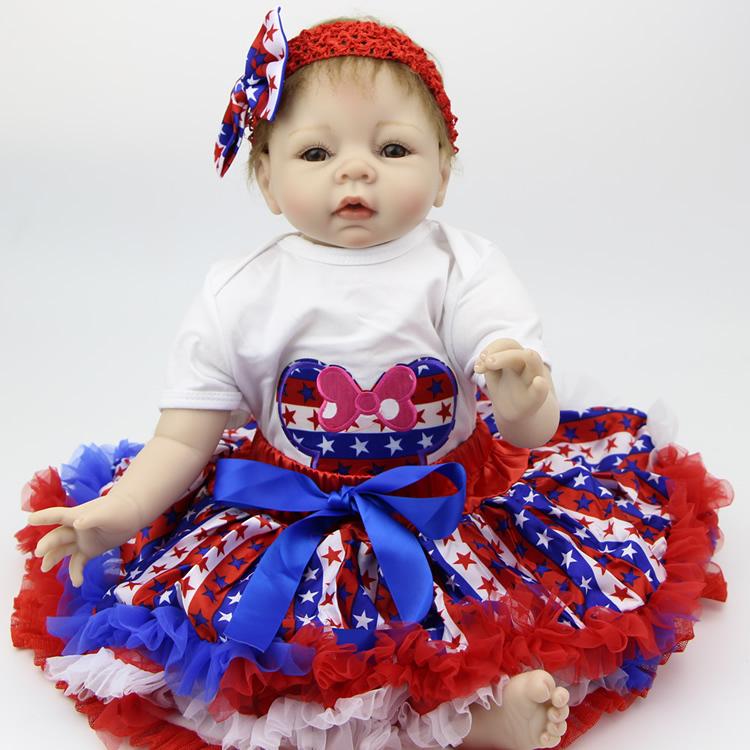 Handmade 22 inch Soft ilicone Reborn Baby Doll  Realistic Baby Born Doll Newborn Baby Toy For Girls Gift